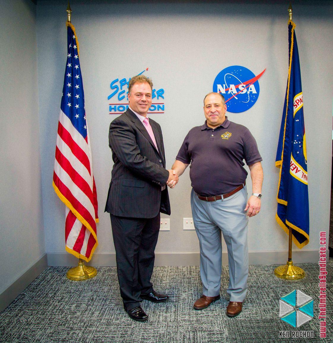 Ernesto Verdugo with Astronaut Carfano in NASA