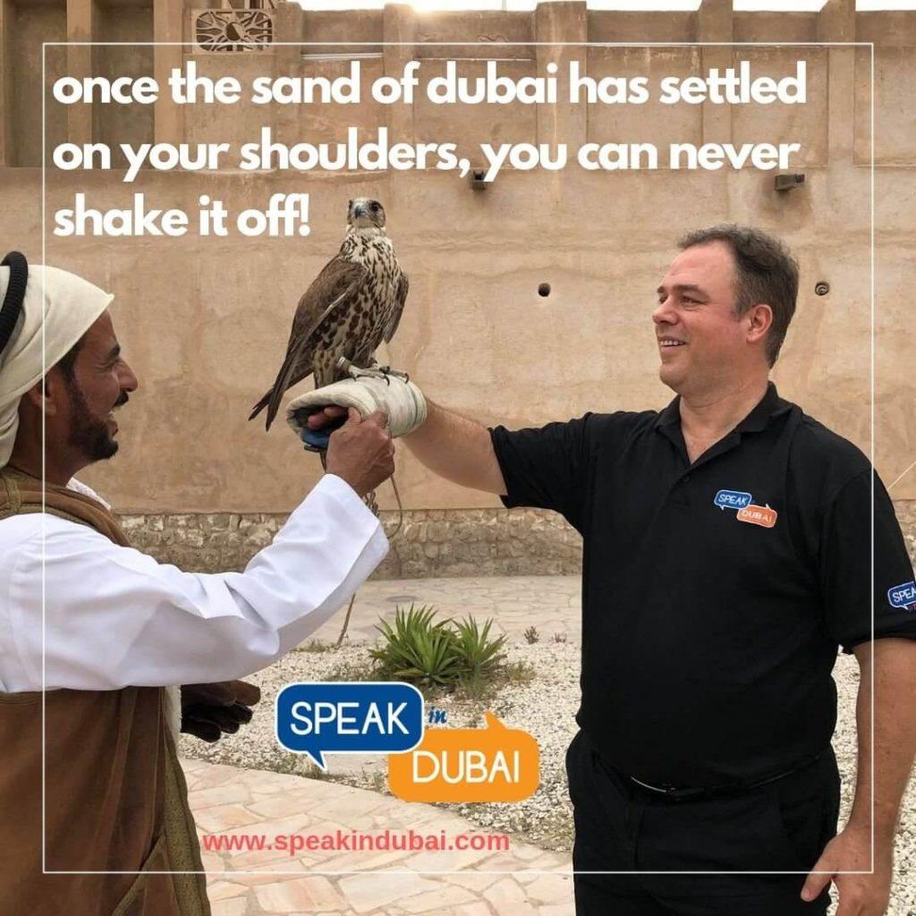 Ernesto Verdugo with Falcon in Dubai
